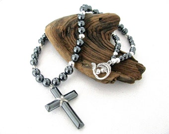 Hematite and Silver Chunky Cross Necklace with Southwestern Style Feathered Toggle Clasp