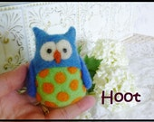 Needle felted owl blue orange hand made wool toy collectible Hoot