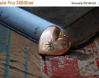 SALE Antique engraved heart pendant with diamond chip ∙ Antique EB initial pendant with diamond