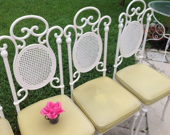 WHITE METAL CHAIRS / Set of 4 Metal Scroll Chairs / Faux Cane Metal Backs / Yellow Vinyl Seats / On Sale Cottage Style at Retro Daisy Girl