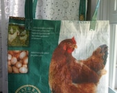 LINED Feed Sack Tote - Teal Chicken