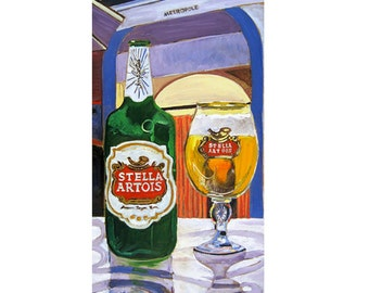 Stella Artois Beer Bottle and Glass in Belgium, Belgian Beer Art, Man Cave Beer Poster, Gift for Sister, Bar Beer Wall Art, Gift for Husband