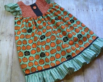 LAST ONE,Girls Dress,Toddler Dress,Girls Halloween Dress,Size 4T Ready to Ship,Flutter Dress,Little Girl Dress,Pumpkin,Size 18MO,2T,3T,4T,5T