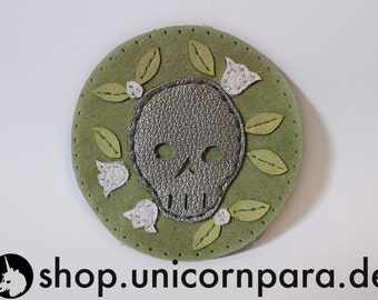 Green, Silver and White Appliquéd Suede & Leather Skull and Flower Patch