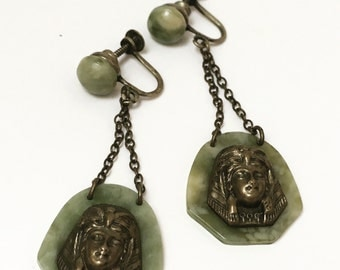 Egyptian Revival Bakelite Earrings Rare Spinach Green 1940s Jewelry