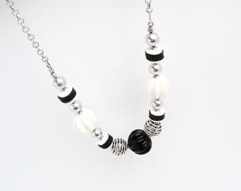 Necklace Art Deco powerful Black White Art Deco statement necklace pumpkin antique bakelite Silver chain geometric graphic jewelry unique