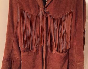 Vintage LEATHER FRINGE JACKET by Deer Wear, Sz 32, Small, Buckskin Jacket, Vintage Leather, 1960s, Fringed Jacket at Modern Logic