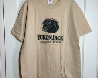 Deadstock Vintage 1980's Yukon Jack Canadian Liqueur Bourbon Whiskey T-shirt size L tan party drinking shirt 1989