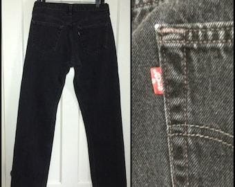 Vintage Levi's Black 501 button fly jeans, label reads 34X32, measures 32x32 Straight Leg black denim made in USA Boyfriend jeans #1246
