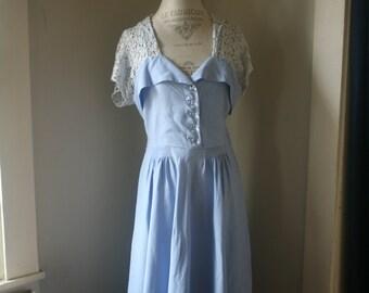 Vintage 1940s Perriwinkle Blue Linen and Lace Dress