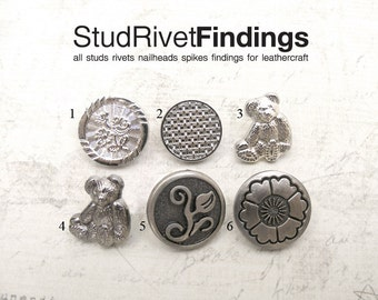 4 sets brush silver / silver vintage flower pattern Snap button for leathercarft