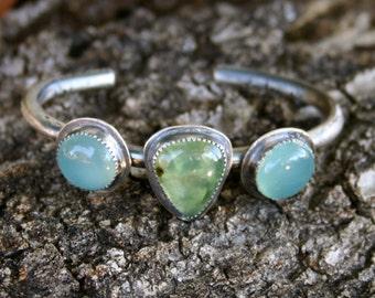 Blue Chalcedony Prehnite Oxidized Sterling Silver Bohemian Tribal South Western Statement Cuff Bracelet
