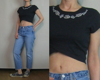 80s EMBROIDERED + BEADED Vintage Cotton Crop Cropped Cross Over Floral Short Sleeve Black Shirt T-Shirt T Shirt Tee Top xs Small s/m 1980s