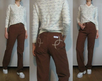 70s HIGH WAIST STRAIGHT Leg Vintage Embroidered Pockets Cognac Spice Cotton Corduroy Zac Boot Cut Jeans Cords Pants Trousers xs Small 1970s