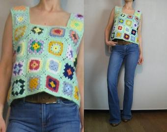 70s CROCHET GRANNY SQUARE Top Crochet Crop Top Hand Crochet Top Green Crochet Top Cropped Crochet Top Crochet Crop Top Knit Crop Top