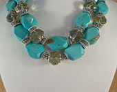 Western Cowgirl Necklace Set - Chunky Faceted Turquoise Howlite Nuggets and Crystal