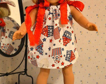 SALE - 18 Inch Doll Clothes Red White and Blue Cupcake Print Pillowcase Dress and Matching Floppy Brimmed Hat by SEWSWEETDAISY