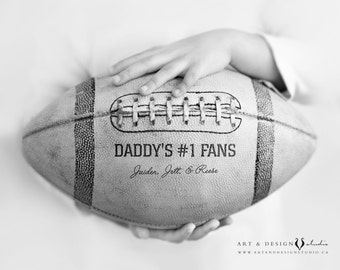 Christmas Gift Ideas for Father, Personalized Presents from Kids Children, Personalized Daddy Gift, #1 Daddy, Football Sports Decor Print