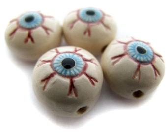 4 Tiny Eyeball Beads - Flat Backed - Eyes, Eyeballs, Peruvian, Ceramic - CB956