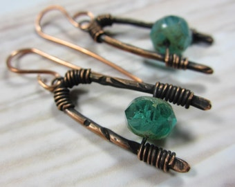 Handmade artisan earrings rustic copper Picasso Aqua turquoise  boho primitive ethnic
