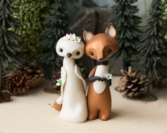 Fox and Dove Wedding Cake Topper by Bonjour Poupette