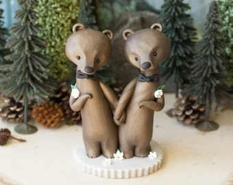 Bear Grooms - Brown Bear Wedding Cake Topper by Bonjour Poupette