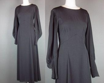 """90s Black Bohemian Dress Vintage 1990s Long Full Length HUGE Billowing Poet Sleeve L B 38"""""""
