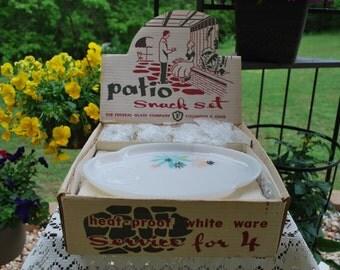 Vintage Federal Glass Marijuana, Pot, Weed, Grass Milk Glass Patio Snack Set