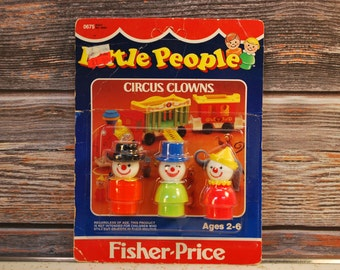 Vintage 1985 Fisher Price Play Family Little People Carded Circus Clowns, New-Old-Stock, FREE SHIPPING