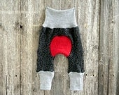 NEWBORN Upcycled Wool Maxaloones Longies Soaker Cover Diaper Cover With Added Doubler Salt & Pepper Gray ,Light Gray, Red NEWBORN 0-6M