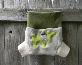Upcycled Merino Wool Soaker Cover Diaper Cover With Added Doubler Green/Gray With Elephant Applique SMALL 3-7M Kidsgogreen