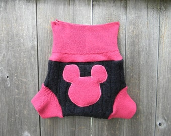 Upcycled Wool Soaker Cover Diaper Cover With Added Doubler Pink / Black With Minnie Mouse Applique SMALL 3-6M Kidsgogreen
