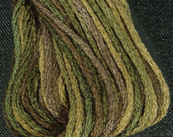 Valdani, 6 Strand Cotton Floss, P2, Olive Green, Embroidery Floss, Variegated Floss, Hand Dyed Floss, Wool Applique, Punch Needle
