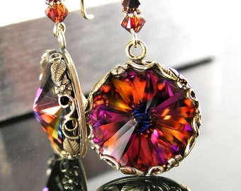 Vintage Style Red Purple Earrings RARE Large Swarovski Crystal Earrings Antique Gold Brass Earrings Dangle Drop Earrings Victorian Jewelry
