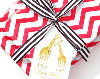 Custom Monogram Gift Tag, Holiday Giraffe Personalized Gift Tag for Gifts, Holidays, Weddings and More