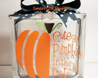 Halloween - Fall/Autumn Harvest - Glass Block Lettering - Cutest Pumpkin in the Pumpkin Patch - Glass Block Crafts