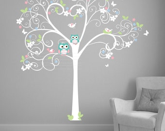 Tree wall decal Nursery /  Birch Tree Decal Baby Whimsical / custom baby Wall Decal /  Adorable Baby Nursery Wall Decor custom made for you