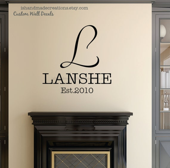 Vinyl wall decal last name monogram wall decals custom colors - Family Name wall decals