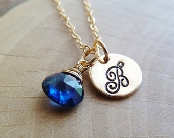 SALE Personalized Initial with Birthstone Necklace. Any 1 birthstone Charm.Gold or Silver. Blue Sapphire jewelry. September birthstone.Virgo