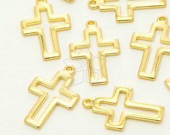 PD-700-GD / 2 Pcs - Open Cross Charm Pendant, Simple Cross Pendant, 16K Gold Plated over Brass / 11mm x 17mm
