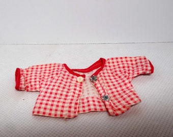 Ginny Doll Red Checkered Bed Jacket Toys and Games Toys Dolls and Action Figure Accessoriesies Jackets Ginny Doll Clothes