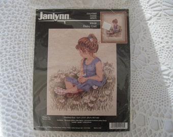 Counted Cross Stitch Kit Janlynn Daisy Girl Picture Little Girl in Daisy Field Never Opened 1996