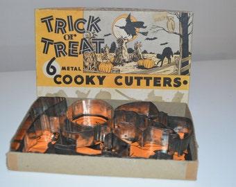 Halloween Trick or Treat metal cookie cutters - witch owl broom bat cat pumpkin