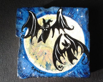Bat No.2 -  Vintage Style  -  One Handpainted magnet bat, moon,