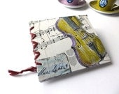 Blank journal with violin cover pattern, handpainted, PLAIN WHITE sketchbook, poetry notebook