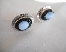 Vintage AMCO  Onyx  MoonStone  Sterling Silver Screwback Earrings