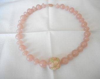 Vintage Pink Lucite Bead Flower Necklace