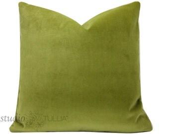 Velvet Pillow Cover - 20 inch - Moss Green  - green velvet - decorative pillow - chartreuse - ready to ship
