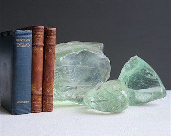 Vintage Glass Cullet - Factory Waste Glass - Paperweight Instant Collection of Three Green Clear Glass Chunks - Crystal Bookends Decoration