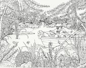 COLORING PAGE Instant Print Download , Color Art for Adults,Teens,Children, Nature,Botanical,Boat,Man and Dog,Outdoors,by Patty Fleckenstein